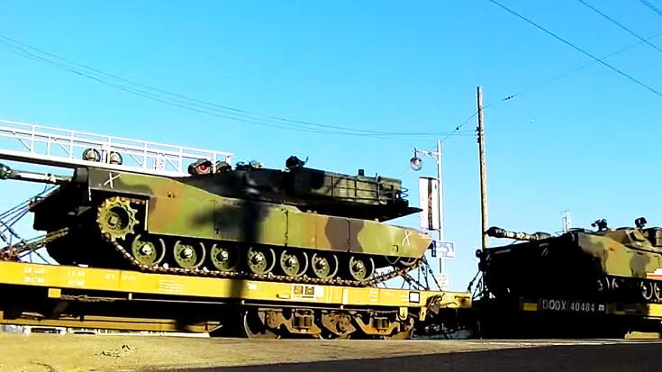 Union Pacific Hauls Iconic M1 Abrams Tank! | Train Fanatics Videos