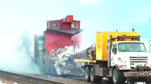 Powerful Jet Engine Turbo Melts Snow Off This Train's Plow!
