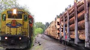 5 Engine Portland Western Freight Moves Logs Carefully!