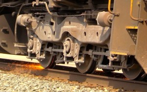 Sparks Fly When This CSX Locomotive's Wheels Start Slipping