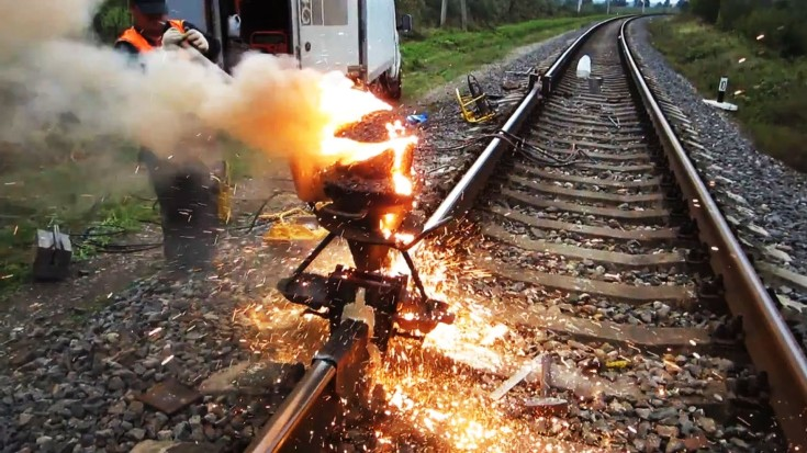 Fascinating Exothermic Track Welding  Using Thermite | Train Fanatics Videos