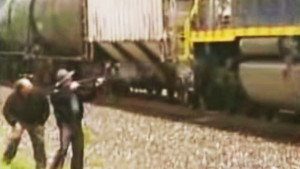 Sheriff Uses Shotgun To Try And Stop Run Away Train!