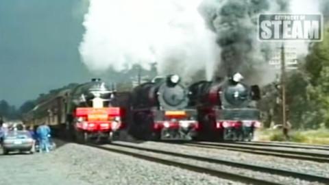 Rare Triple Side-By-Side Smoke And Steam! | Train Fanatics Videos