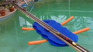 Backyard Pool Provides HO Train Layout!