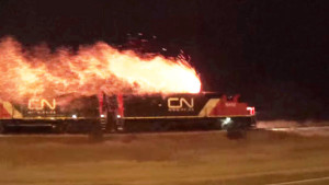 Canadian National Diesel Bursts Into Flames!