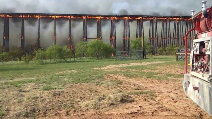 Burning 900 Foot Train Bridge Collapses! | Train Fanatics Videos