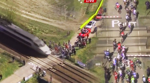 TGV Hi Speed Train Disrupts Bicycle Race!