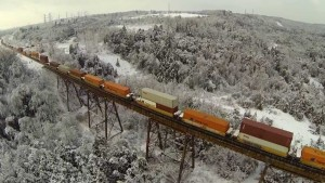 Drone Captures CP Freight On Pickering Trestle!