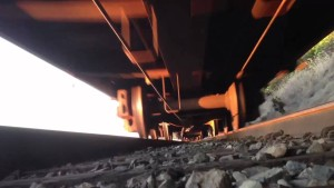 Go Pro Catches Underside Of Freight Train!