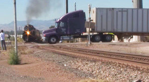 UP Challenger Gives Close Up After Close Call With Semi Truck!