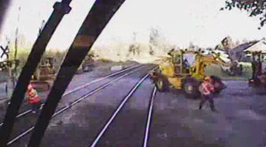 Locomotive Smashes Construction Equipment|Cab View!