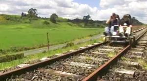 Custom Railcart Flies Down Abandoned Rails