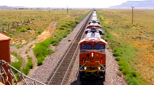 Long Freight Trains Along Route 66