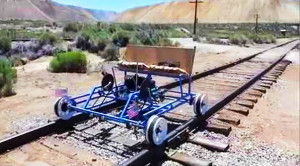 Home-made Rail Rider Cruises Down The Rails!