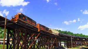 W&LE's #3049  On The Bellaire Viaduct