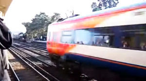 Trainspotter On Wrong Side Of Tracks Loses Shot Of A Lifetime!
