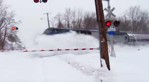 Speeding Amtrak Train Disappears In A Cloud Of Snow!