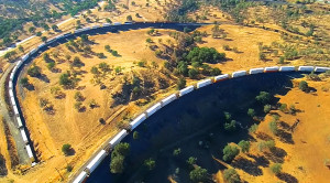 Drone Footage Of BNSF Freight At Tehachapi Loop