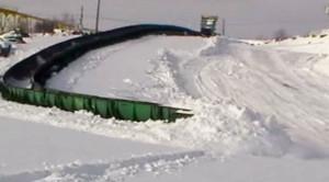 Ore Train Snakes Through The Snow