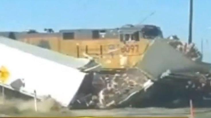 UP Military Freight Blasts Semi Truck Full Of Trail Mix At Crossing! | Train Fanatics Videos