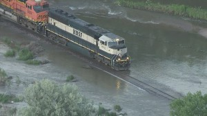 BNSF Freight Takes It Easy On Flooded Track!