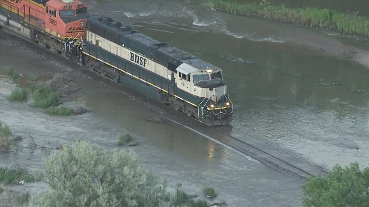 BNSF Freight Takes It Easy On Flooded Track! | Train Fanatics Videos
