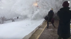 Snow Explodes On Amtrak Platform!