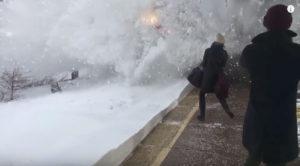 Snow Explodes On Amtrak Platform!