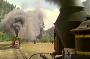 Real Locomotives Used in Rio Grande Train Crash Scene!