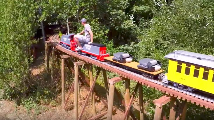 Backyard Train back yard trestle amazes! - train fanatics
