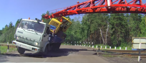Impatient Truck Gets Turned Over By Train