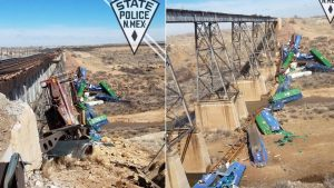 Crazy Strong Winds Push Train Off Bridge in New Mexico