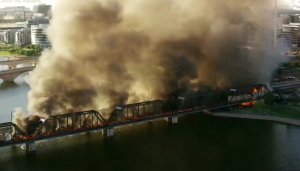 Tempe UP Train Derailment & Bridge Fire