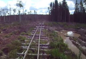 Russian Logging Railroad Built On Logs