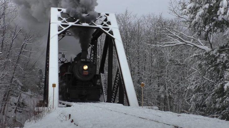 Conway Scenic Railroad's #7470 In Winter   Train Fanatics Videos