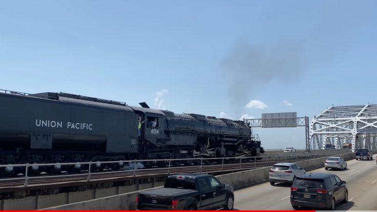 Big Boy #4014 On The Huey P Long Bridge   Train Fanatics Videos