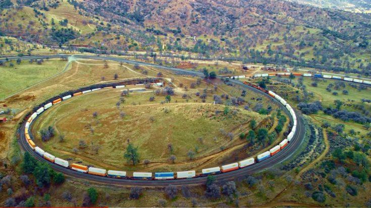 The Tehachapi Loop From High Above | Train Fanatics Videos